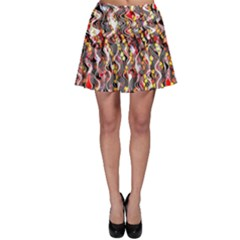 Pink And Gold Black And White Waves Created In Many Layers By Flipstylez Designs Skater Skirt