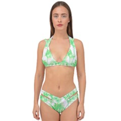 Palm Trees Tropical Beach Pattern  Double Strap Halter Bikini Set by CrypticFragmentsColors