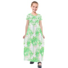 Palm Trees Tropical Beach Pattern  Kids  Short Sleeve Maxi Dress