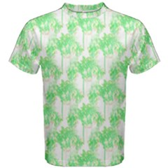 Palm Trees Green Pink Small Print Men s Cotton Tee