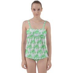 Palm Trees Green Pink Small Print Twist Front Tankini Set by CrypticFragmentsColors