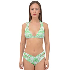 Palm Trees Green Pink Small Print Double Strap Halter Bikini Set by CrypticFragmentsColors