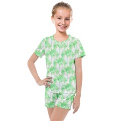 Palm Trees Green Pink Small Print Kids  Mesh Tee And Shorts Set