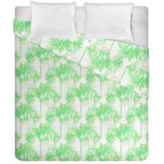 Palm Trees Green Pink Small Print Duvet Cover Double Side (california King Size) by CrypticFragmentsColors