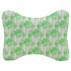 Palm Trees Green Pink Small Print Velour Seat Head Rest Cushion by CrypticFragmentsColors