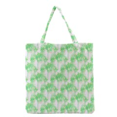 Palm Trees Green Pink Small Print Grocery Tote Bag by CrypticFragmentsColors