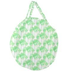 Palm Trees Green Pink Small Print Giant Round Zipper Tote by CrypticFragmentsColors