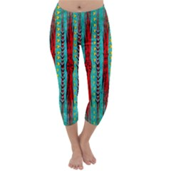 Bluegreen Background Red And Orange Seamless Design Created By Flipstylez Designs Capri Winter Leggings