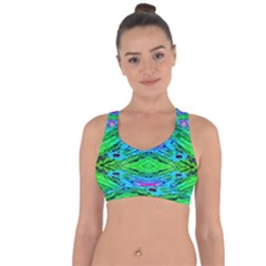 The Tropical Watercolor Peacock Feather Created By Flipstylez Designs  Cross String Back Sports Bra