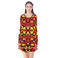 Red Black Yellow 1 Long Sleeve V Neck Flare Dress by ArtworkByPatrick1