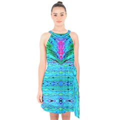 New Look Tropical Design By Flipstylez Designs  Halter Collar Waist Tie Chiffon Dress
