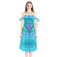 New Look Tropical Design By Flipstylez Designs  Shoulder Tie Bardot Midi Dress by flipstylezdes