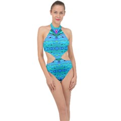New Look Tropical Design By Flipstylez Designs  Halter Side Cut Swimsuit