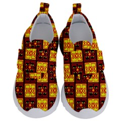 Red Black Yellow 3 Velcro Strap Shoes