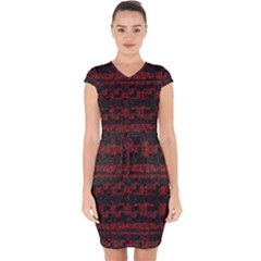 Burgundy Design With Black Zig Zag Pattern Created By Flipstylez Designs Capsleeve Drawstring Dress
