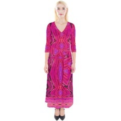 Pink And Purple And Peacock Created By Flipstylez Designs  Quarter Sleeve Wrap Maxi Dress