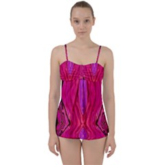 Pink And Purple And Peacock Created By Flipstylez Designs  Babydoll Tankini Set