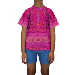 Pink And Purple And Peacock Design By Flipstylez Designs  Kids  Short Sleeve Swimwear