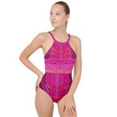 Pink And Purple And Peacock Design By Flipstylez Designs  High Neck One Piece Swimsuit