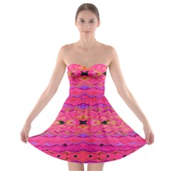 Pink And Purple And Beautiful Peacock Design Created By Flipstylez Designs Strapless Bra Top Dress