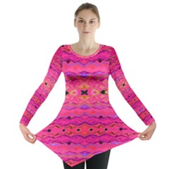 Pink And Purple And Beautiful Peacock Design Created By Flipstylez Designs Long Sleeve Tunic