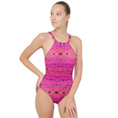 Pink And Purple And Beautiful Peacock Design Created By Flipstylez Designs High Neck One Piece Swimsuit
