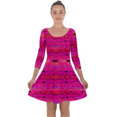 Pink And Purple And Peacock Created By Flipstylez Designs Quarter Sleeve Skater Dress