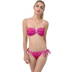 Pink And Purple And Peacock Created By Flipstylez Designs Twist Bandeau Bikini Set