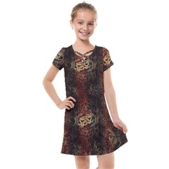 A Golden Dragon Burgundy Design Created By Flipstylez Designs Kids  Cross Web Dress by flipstylezdes