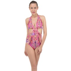 Pink And Purple Beautiful Golden And Purple Butterflies Created By Flipstylez Designs Halter Front Plunge Swimsuit
