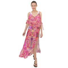 Pink And Purple Beautiful Golden And Purple Butterflies Created By Flipstylez Designs Maxi Chiffon Cover Up Dress