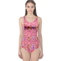 Pink Purple Beautiful Golden Butterfly Created By Flipstylez Designs One Piece Swimsuit