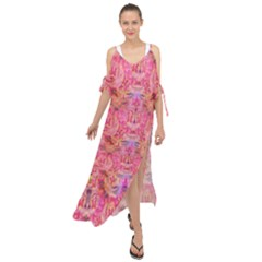 Pink Purple Beautiful Golden Butterfly Created By Flipstylez Designs Maxi Chiffon Cover Up Dress