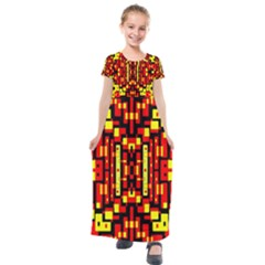 Red Black Yellow 4 Kids  Short Sleeve Maxi Dress