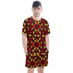 Red Black Yellow 5 Men s Mesh Tee And Shorts Set