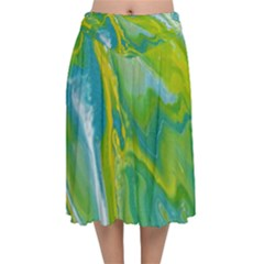 Sunlit River Velvet Flared Midi Skirt