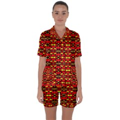 Red Black Yellow 6 Satin Short Sleeve Pyjamas Set