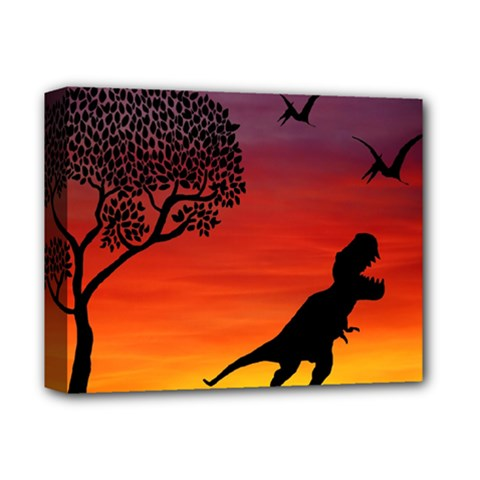 Sunset Dinosaur Scene Deluxe Canvas 14  X 11  by IIPhotographyAndDesigns