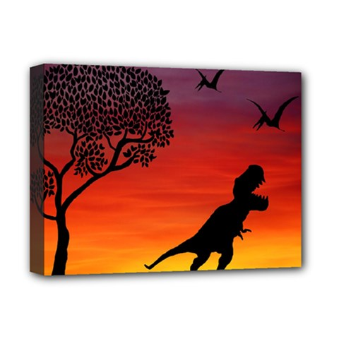 Sunset Dinosaur Scene Deluxe Canvas 16  X 12   by IIPhotographyAndDesigns