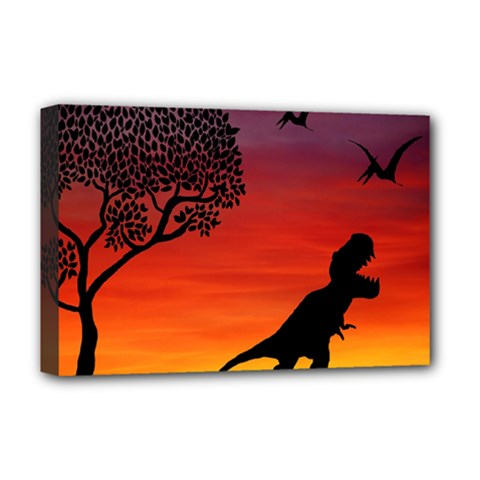 Sunset Dinosaur Scene Deluxe Canvas 18  X 12   by IIPhotographyAndDesigns