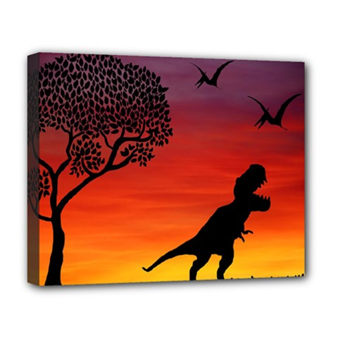 Sunset Dinosaur Scene Deluxe Canvas 20  X 16   by IIPhotographyAndDesigns