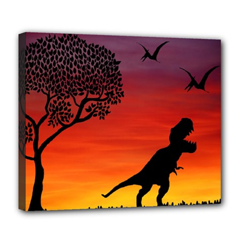 Sunset Dinosaur Scene Deluxe Canvas 24  X 20   by IIPhotographyAndDesigns