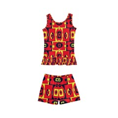 Red Black Yellow 7 Kid s Boyleg Swimsuit