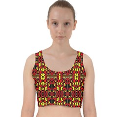 Red Black Yellow 8 Velvet Racer Back Crop Top
