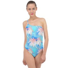 Palm Trees Summer Afternoon Classic One Shoulder Swimsuit