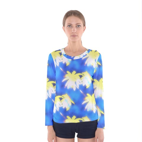 Palm Trees Bright Blue Green Women s Long Sleeve Tee by CrypticFragmentsColors