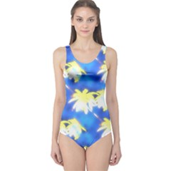 Palm Trees Bright Blue Green One Piece Swimsuit by CrypticFragmentsColors