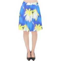 Palm Trees Bright Blue Green Velvet High Waist Skirt by CrypticFragmentsColors