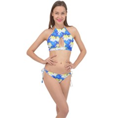 Palm Trees Bright Blue Green Cross Front Halter Bikini Set by CrypticFragmentsColors