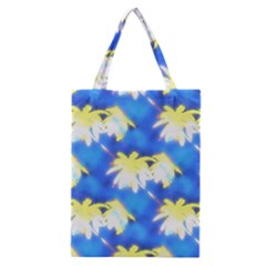 Palm Trees Bright Blue Green Classic Tote Bag by CrypticFragmentsColors